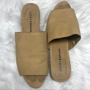 Lucky Brand beige leather peep toe slides